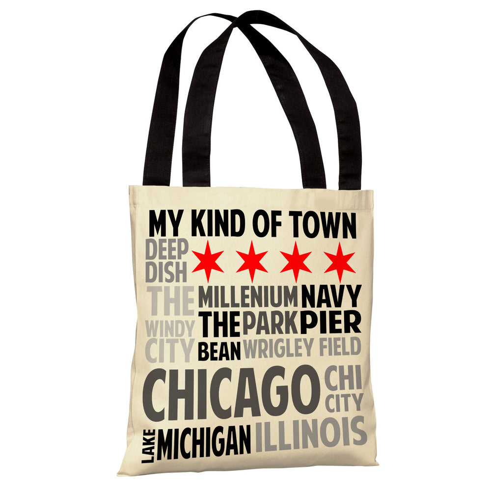 Chicago Illinois Subway Style Words - Ivory Gray Tote Bag by OBC