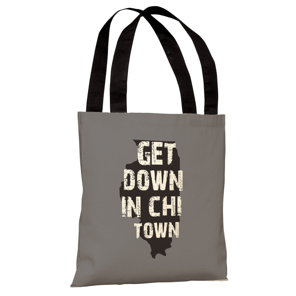 Get Down in Chi Town - Gray Black Tote Bag by OBC