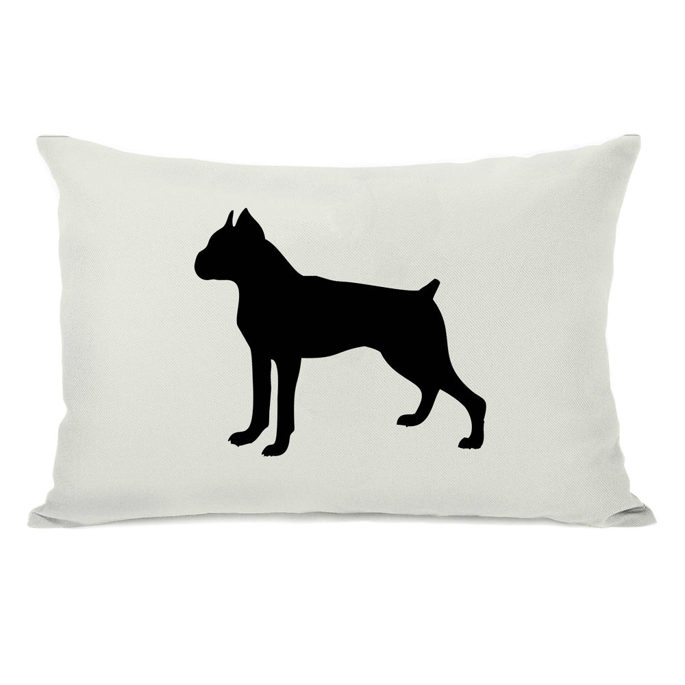 Boxer Silhouette - Ivory Black 14x20 Throw Pillow by OneBellaCasa.com