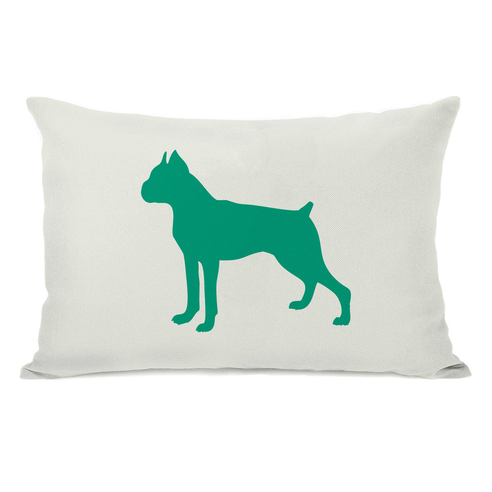 Boxer Silhouette - Ivory Emerald Throw Pillow by OBC