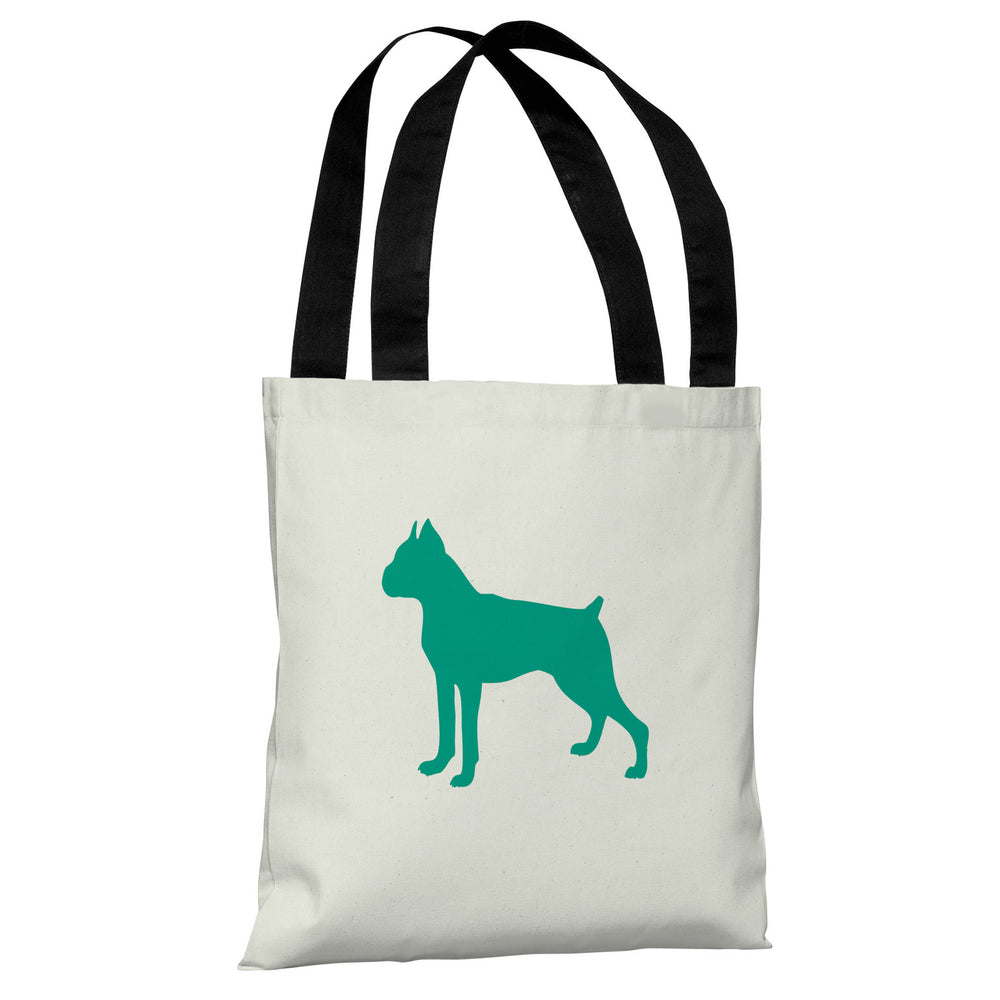 Boxer Silhouette - Ivory Emerald Tote Bag by OBC