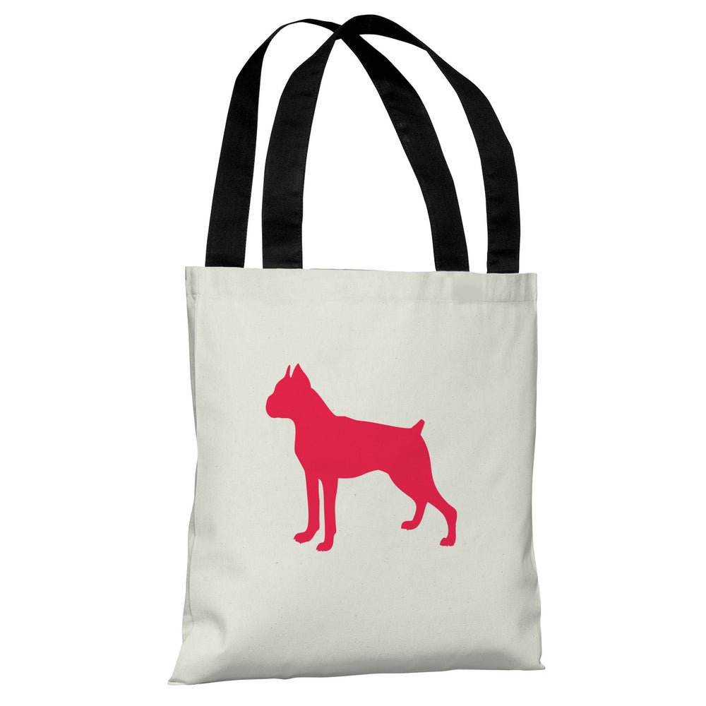 Boxer Silhouette - Ivory Lipstick Red Tote Bag by OBC