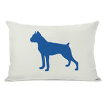 Boxer Silhouette - Ivory Strong Blue Throw Pillow by OBC