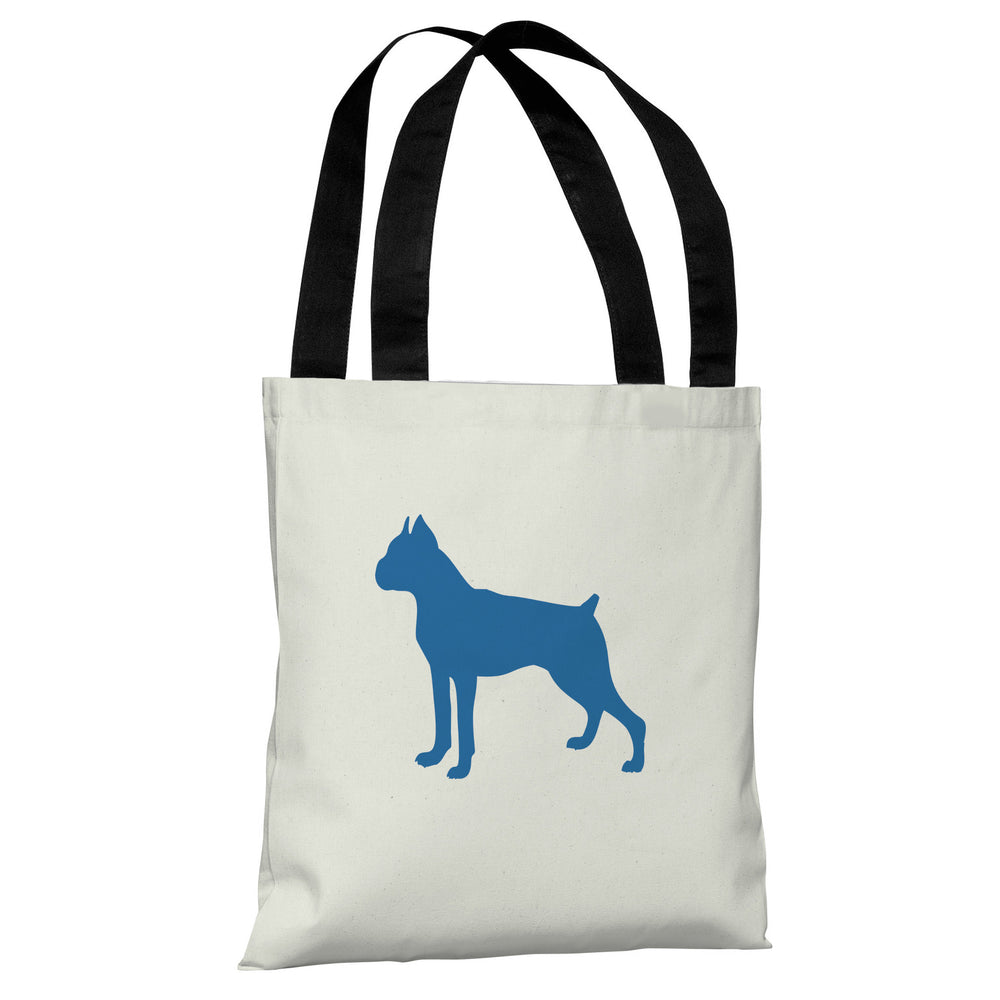 Boxer Silhouette - Ivory Strong Blue Tote Bag by OBC