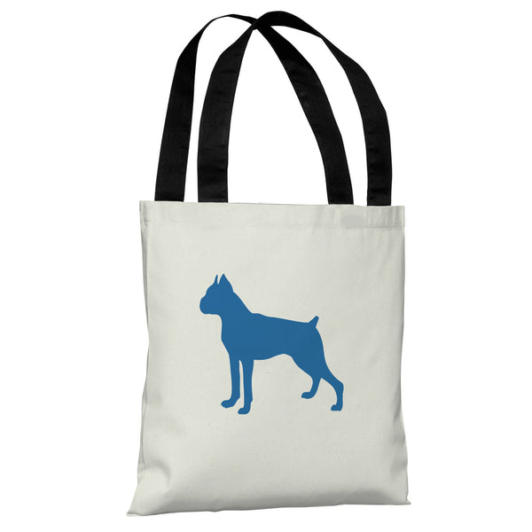 Boxer Silhouette - Ivory Strong Blue Tote Bag by OneBellaCasa.com