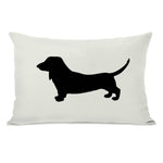 Doxie Silhouette - Ivory Black Throw Pillow by OBC