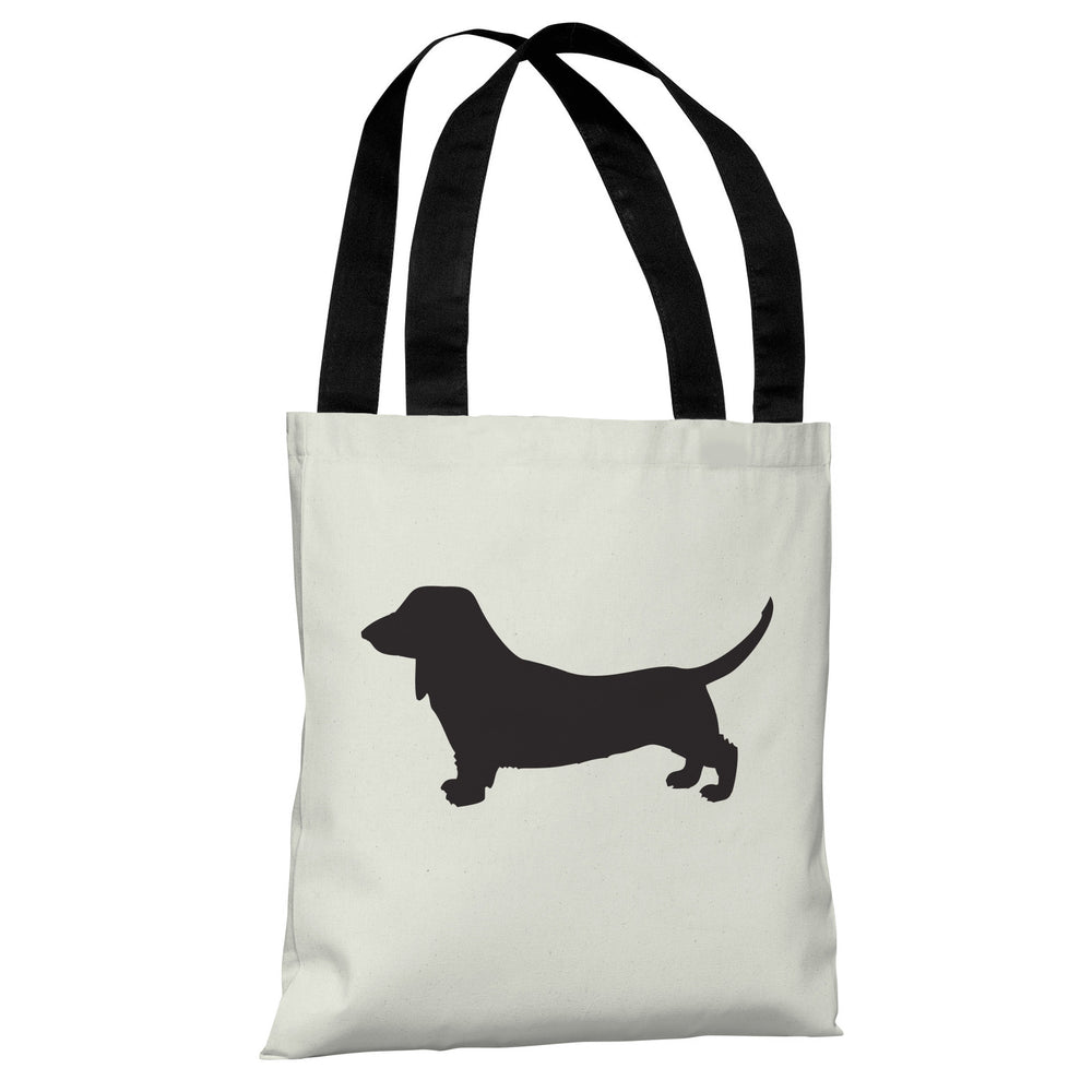 Doxie Silhouette - Ivory Black Tote Bag by OBC