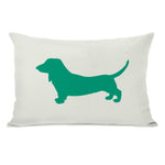 Doxie Silhouette - Ivory Emerald Throw Pillow by OBC