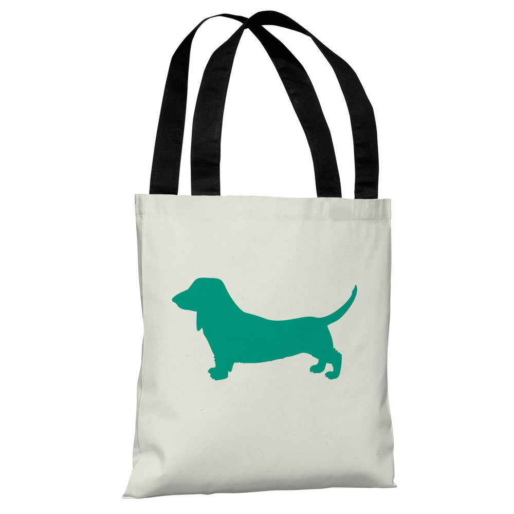 Doxie Silhouette - Ivory Emerald Tote Bag by OBC
