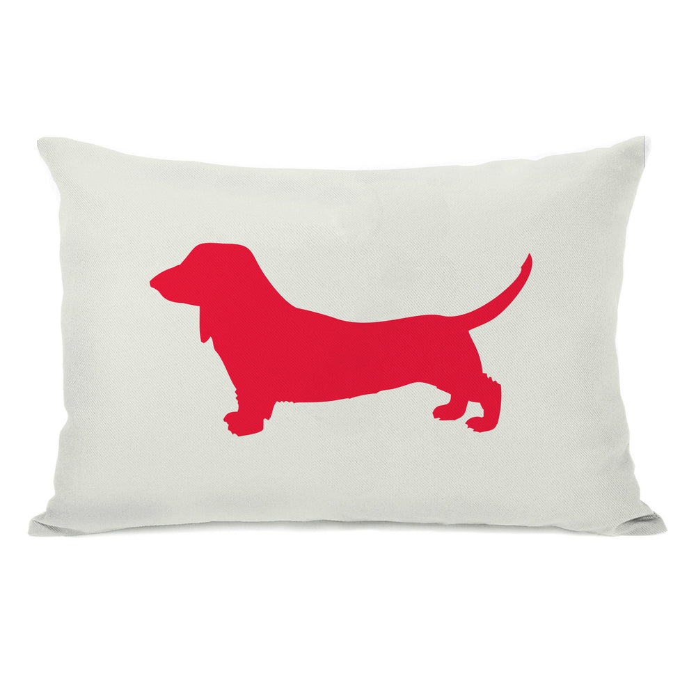 Doxie Silhouette - Ivory Lipstick Red Throw Pillow by OBC