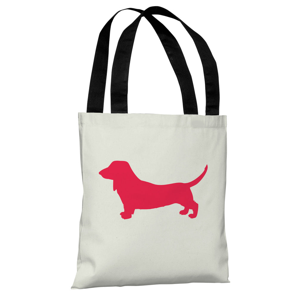 Doxie Silhouette - Ivory Lipstick Red Tote Bag by OBC