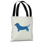Doxie Silhouette - Ivory Strong Blue Tote Bag by OBC
