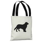 Golden Retriever Silhouette - Ivory Black Tote Bag by OBC
