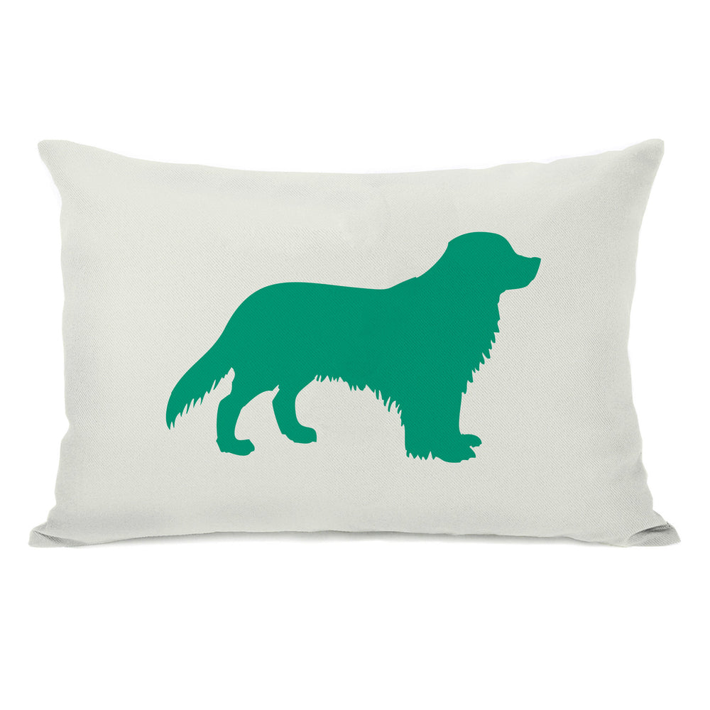 Golden Retriever Silhouette - Ivory Emerald Throw Pillow by OBC