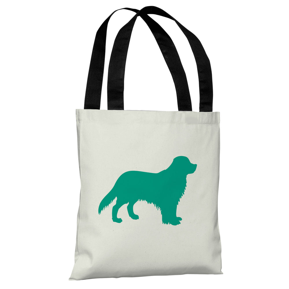 Golden Retriever Silhouette - Ivory Emerald Tote Bag by OBC