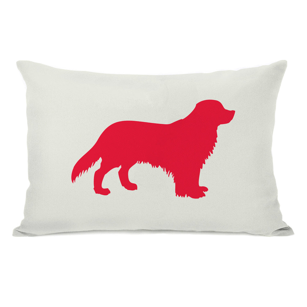 Golden Retriever Silhouette - Ivory Lipstick Red Throw Pillow by OBC