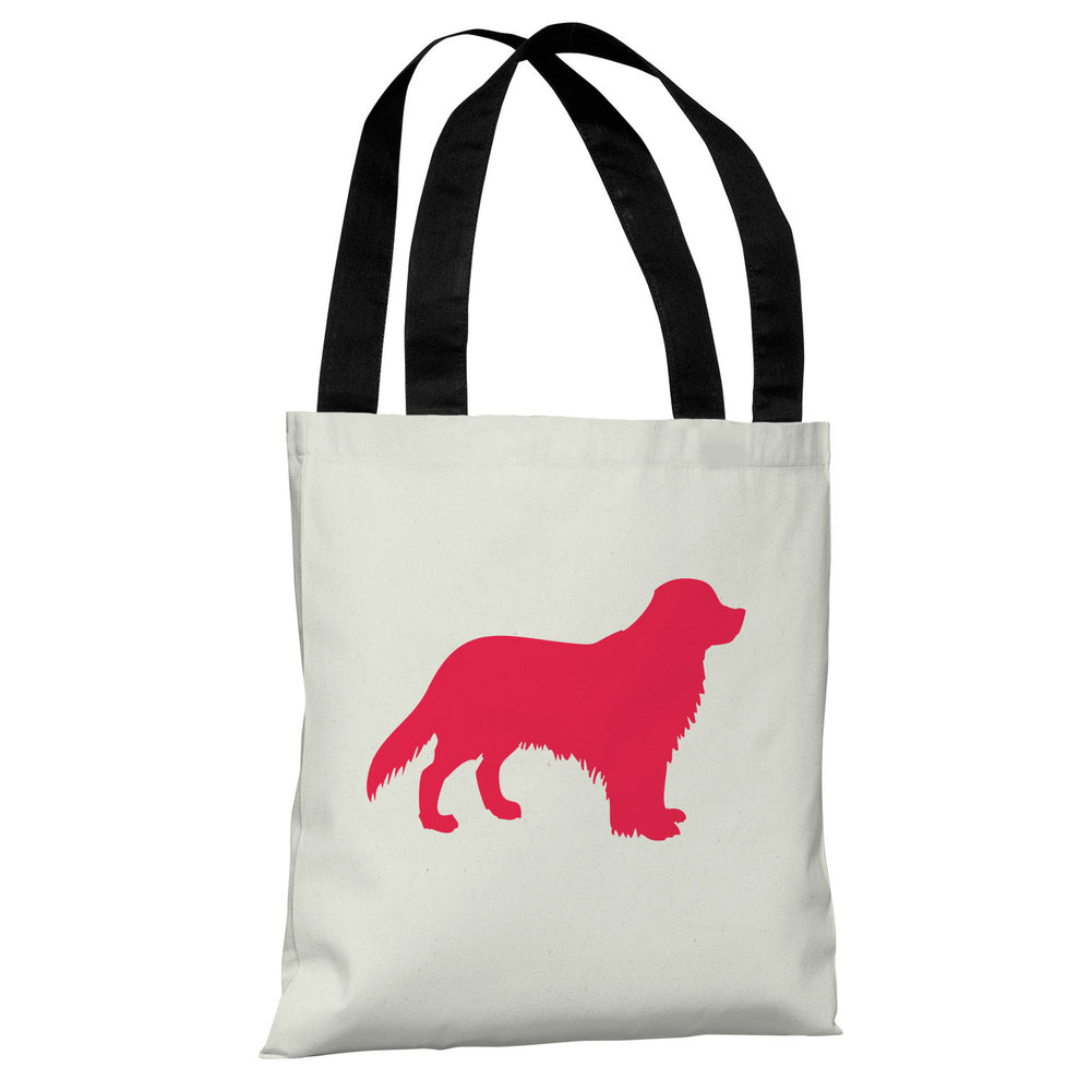 Golden Retriever Silhouette - Ivory Lipstick Red Tote Bag by OBC