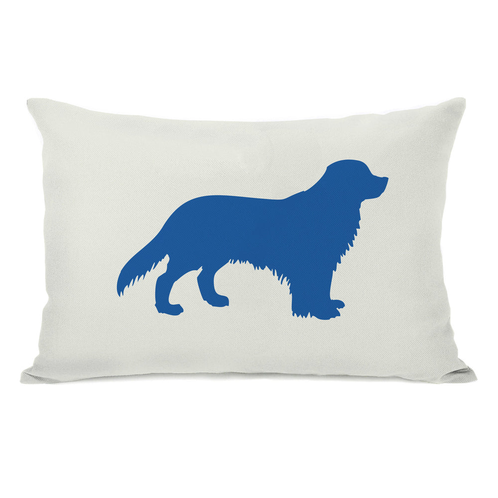 Golden Retriever Silhouette - Ivory Strong Blue Throw Pillow by OBC