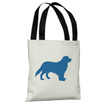Golden Retriever Silhouette - Ivory Strong Blue Tote Bag by OBC
