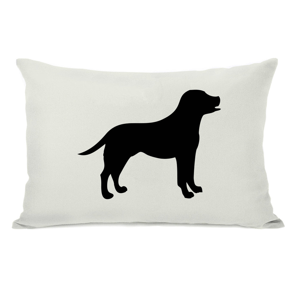 Lab Silhouette - Ivory Black Throw Pillow by OBC