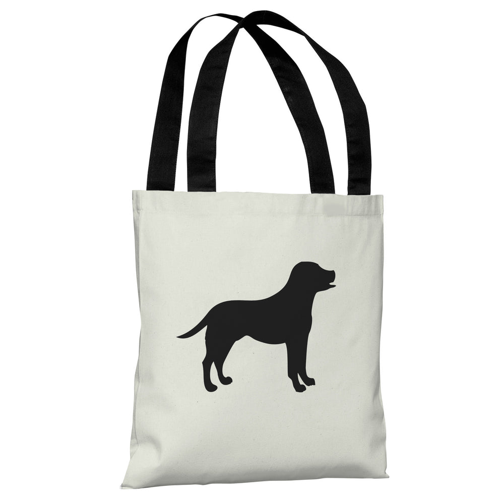 Lab Silhouette - Ivory Black Tote Bag by OBC