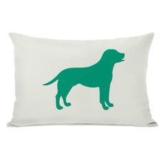 Lab Silhouette - Ivory Emerald Throw Pillow by OBC