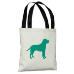 Lab Silhouette - Ivory Emerald Tote Bag by OBC