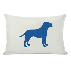 Lab Silhouette - Ivory Strong Blue Throw Pillow by OBC