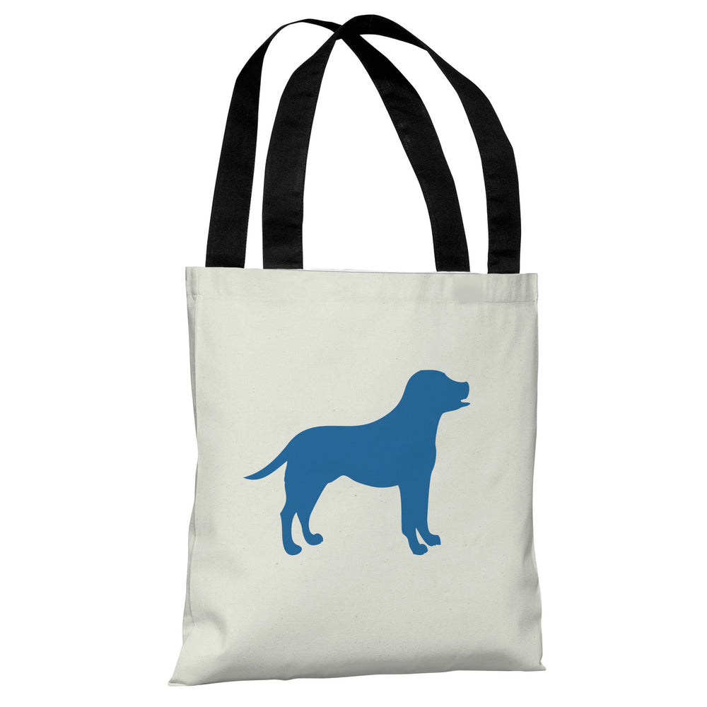 Lab Silhouette - Ivory Strong Blue Tote Bag by OBC
