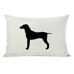 Large Mixed Breed Silhouette - Ivory Black Throw Pillow by OBC