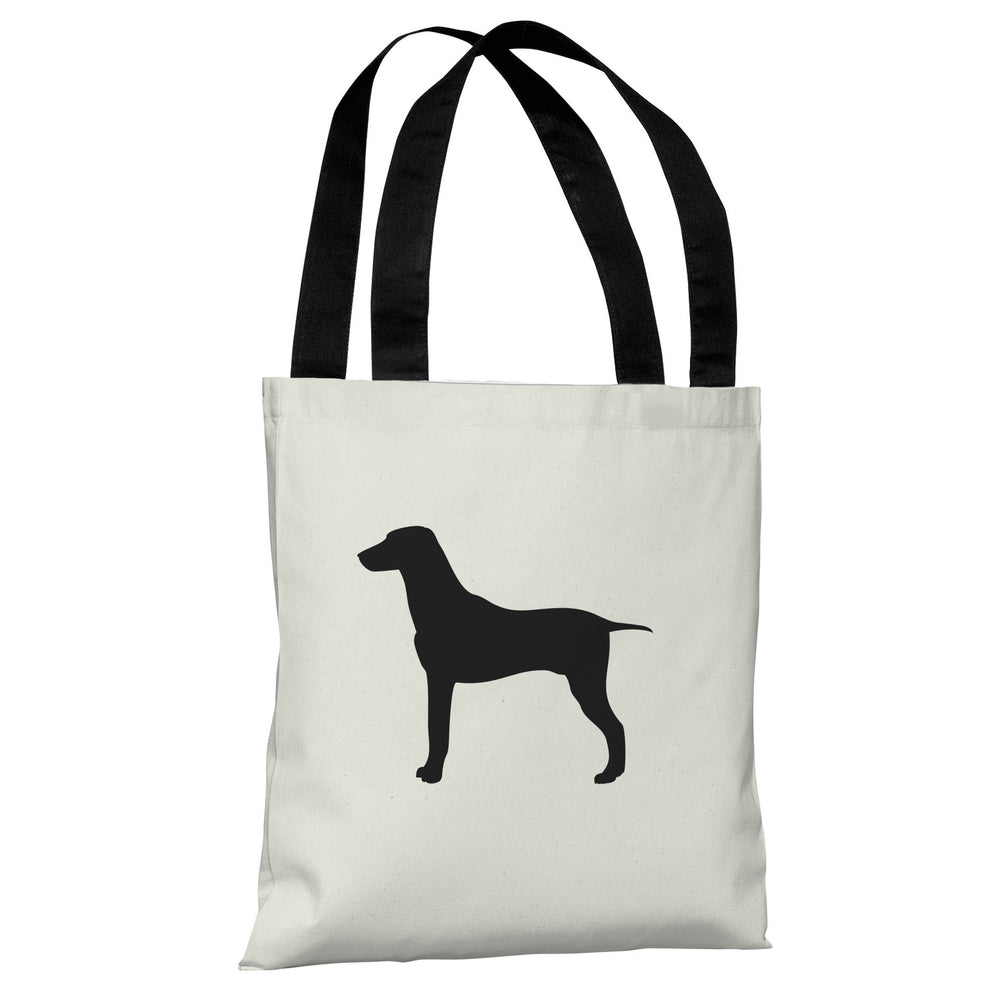 Large Mixed Breed Silhouette - Ivory Black Tote Bag by OBC