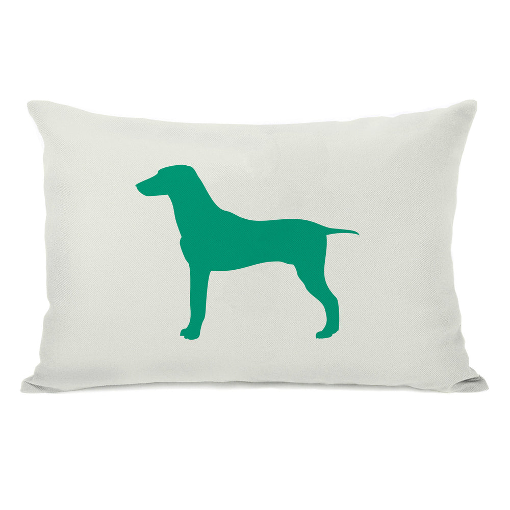 Large Mixed Breed Silhouette - Ivory Emerald Throw Pillow by OBC