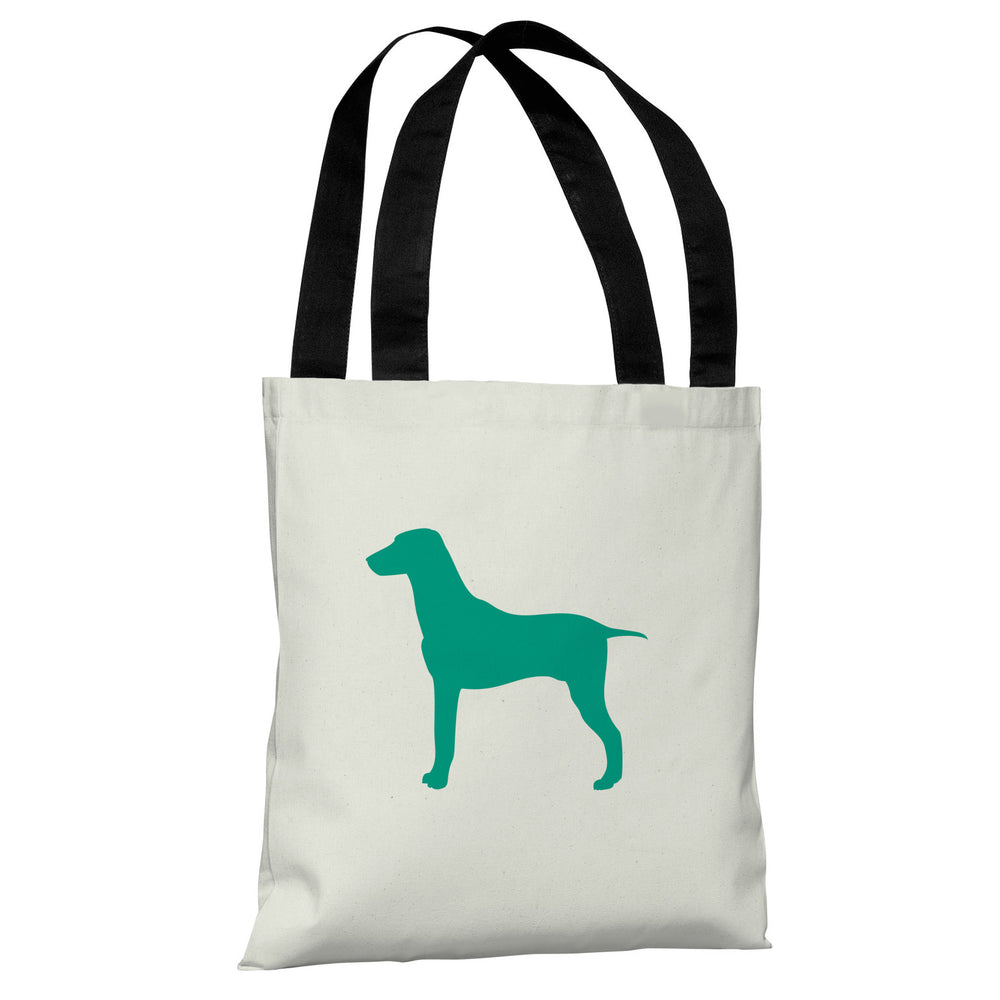 Large Mixed Breed Silhouette - Ivory Emerald Tote Bag by OBC