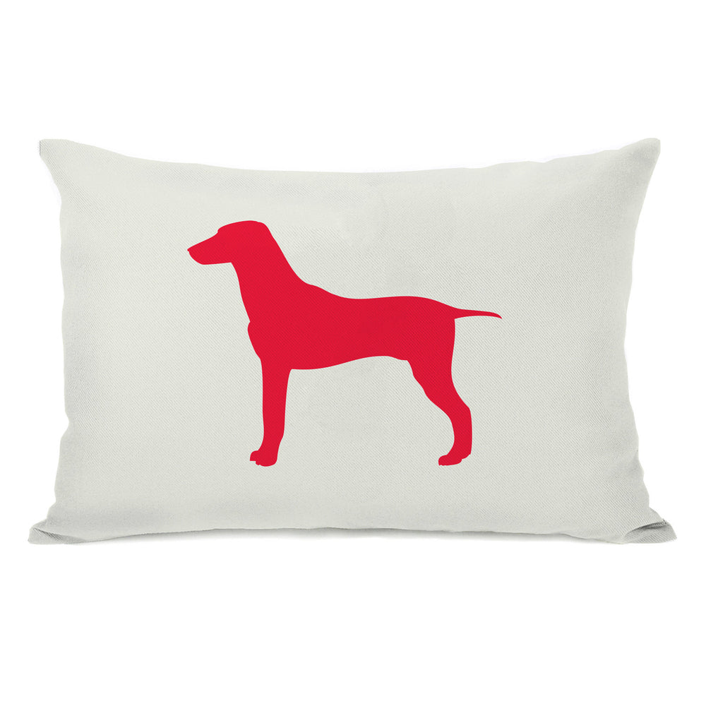 Large Mixed Breed Silhouette - Ivory Lipstick Red Throw Pillow by OBC