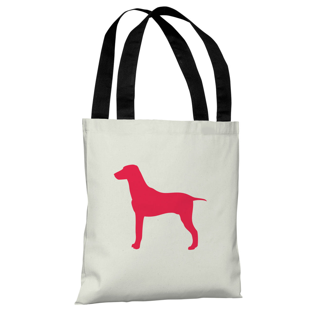 Large Mixed Breed Silhouette - Ivory Lipstick Red Tote Bag by OBC