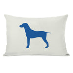 Large Mixed Breed Silhouette - Ivory Strong Blue Throw Pillow by OBC
