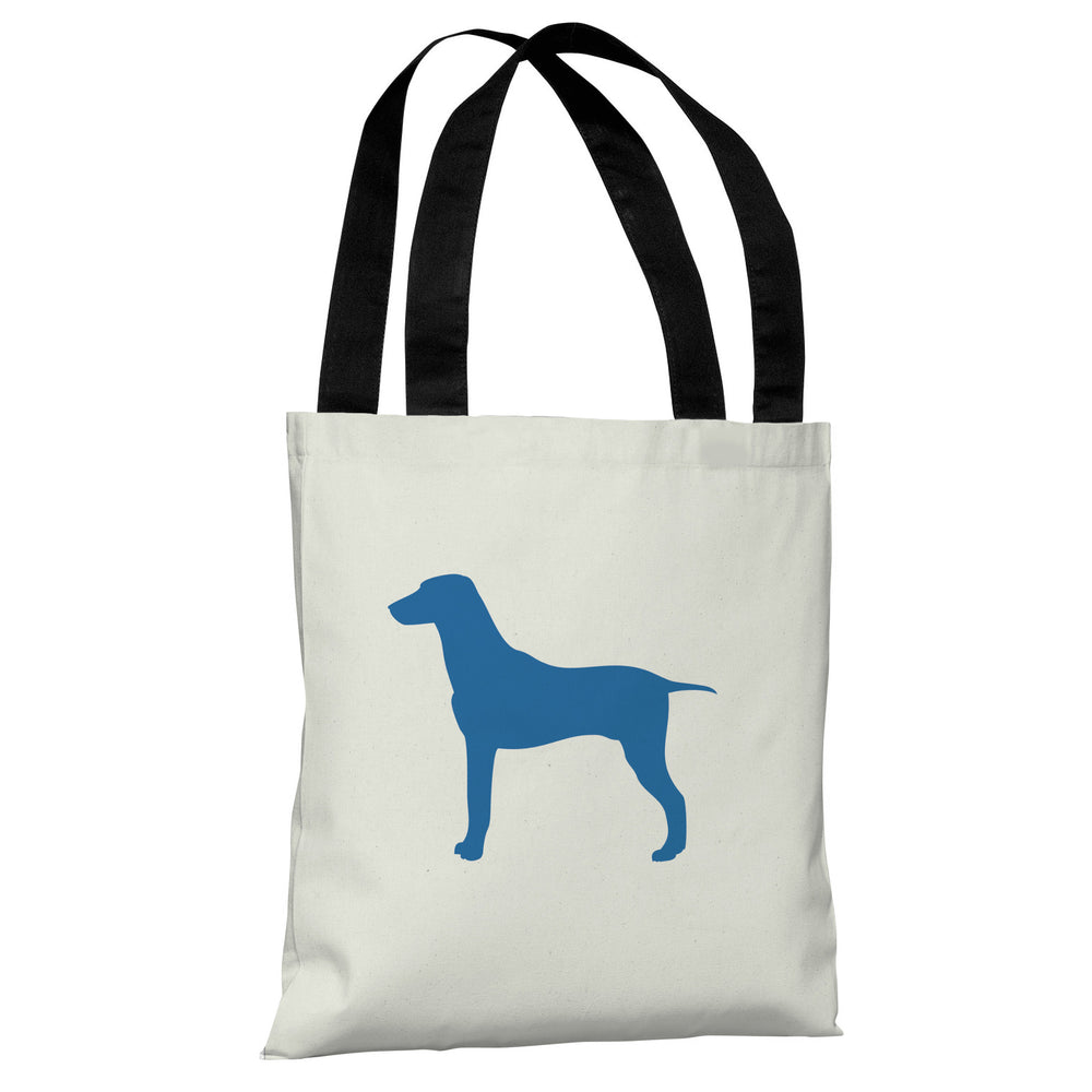 Large Mixed Breed Silhouette - Ivory Strong Blue Tote Bag by OBC