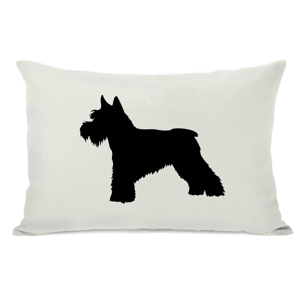 Schnauzer Silhouette - Ivory Black Throw Pillow by OBC