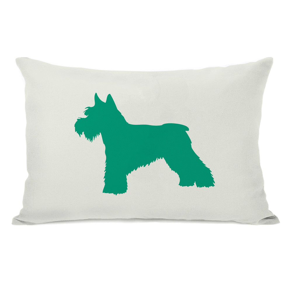 Schnauzer Silhouette - Ivory Emerald Throw Pillow by OBC