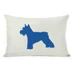 Schnauzer Silhouette - Ivory Strong Blue Throw Pillow by OBC