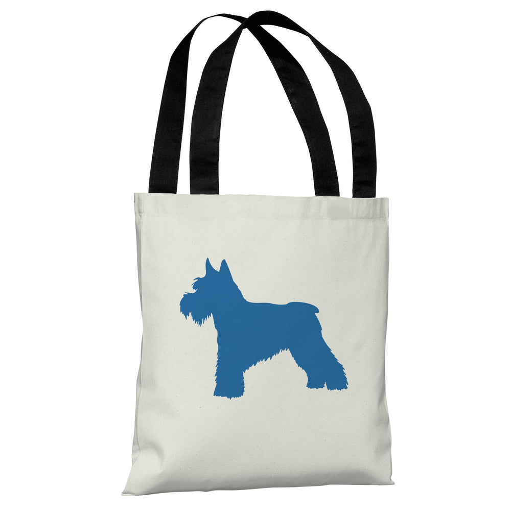Schnauzer Silhouette - Ivory Strong Blue Tote Bag by OBC