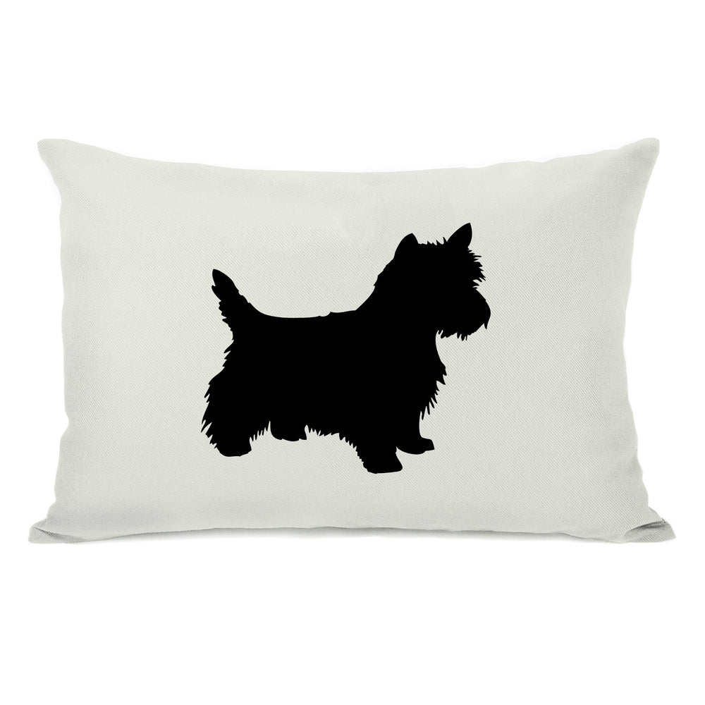 Westie Silhouette - Ivory Black Throw Pillow by OBC