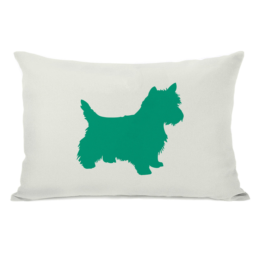 Westie Silhouette - Ivory Emerald Throw Pillow by OBC