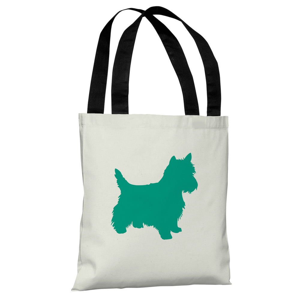 Westie Silhouette - Ivory Emerald Tote Bag by OBC