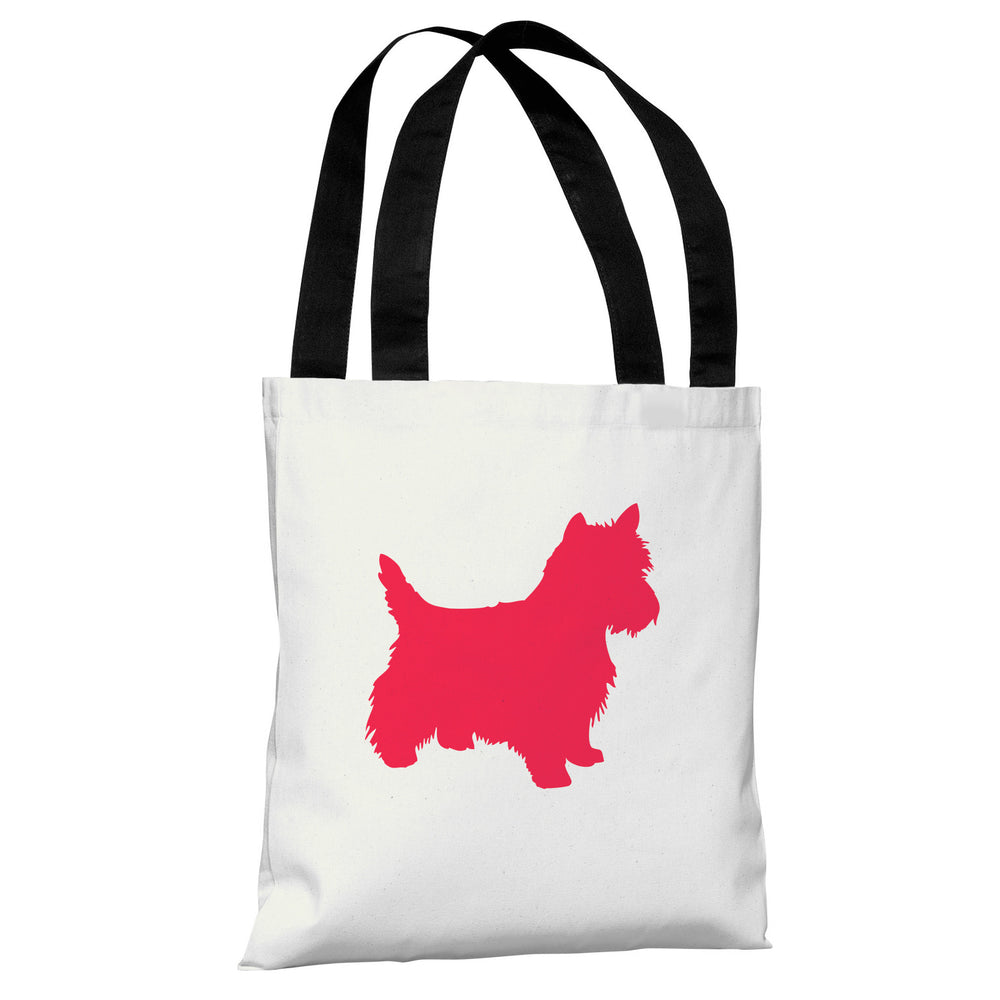 Westie Silhouette - Ivory Lipstick Red Tote Bag by OBC