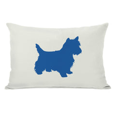 Westie Silhouette - Ivory Strong Blue Throw Pillow by OBC