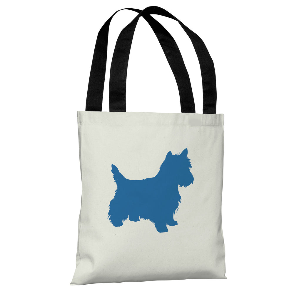 Westie Silhouette - Ivory Strong Blue Tote Bag by OBC