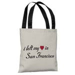 Left My Heart In San Francisco - Ivory Black Tote Bag by OBC