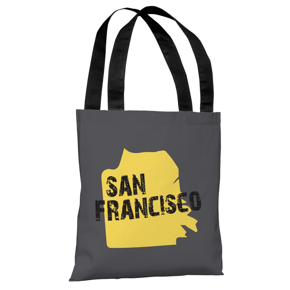 San Francisco City Silhouette - Gray Yellow Tote Bag by OBC