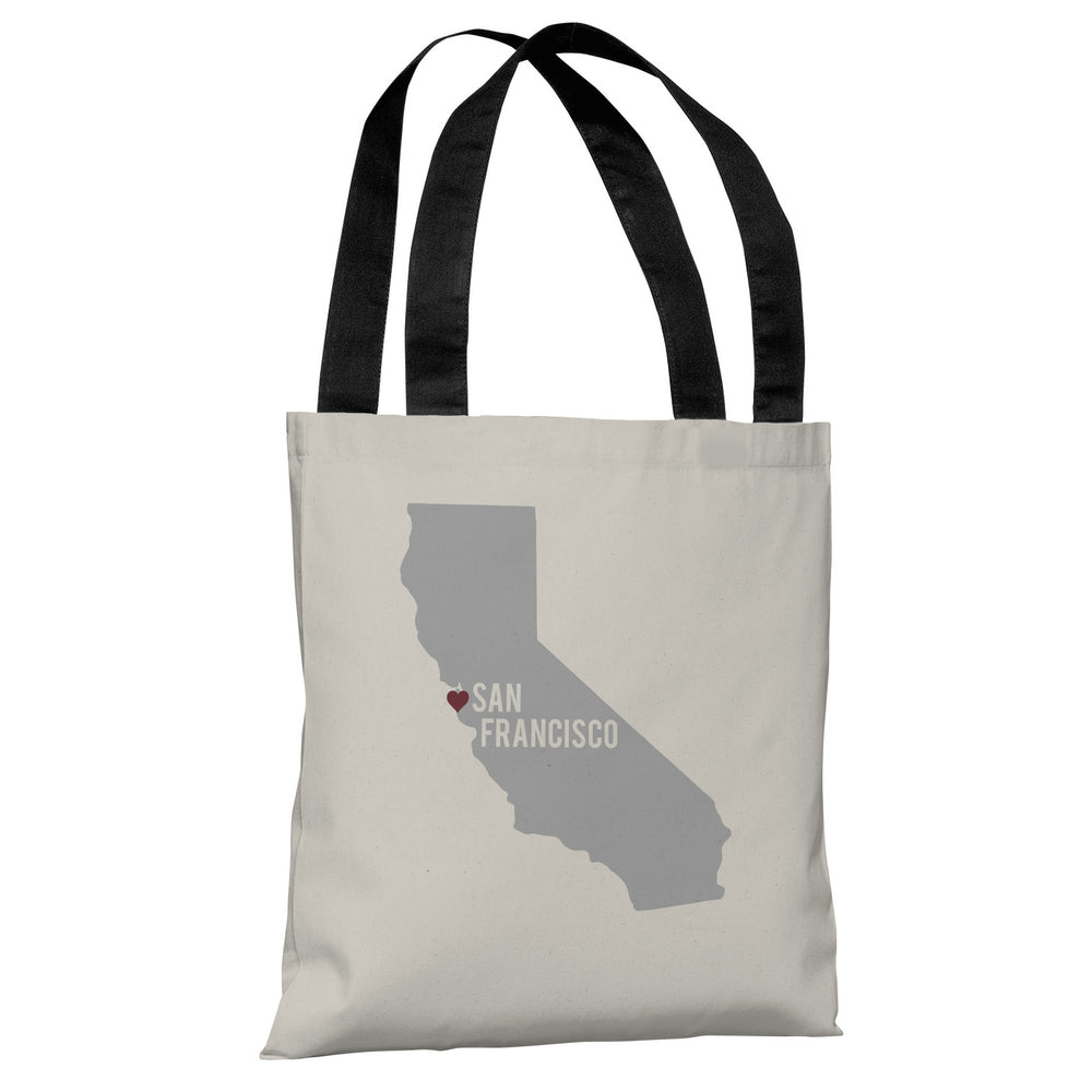 San Francisco Heart Map - Ivory Gray Tote Bag by OBC